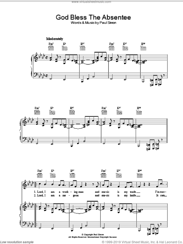 God Bless The Absentee sheet music for voice, piano or guitar by Paul Simon. Score Image Preview.