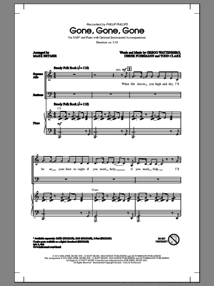 Gone, Gone, Gone sheet music for choir (SAB) by Phillip Phillips and Mark Brymer. Score Image Preview.