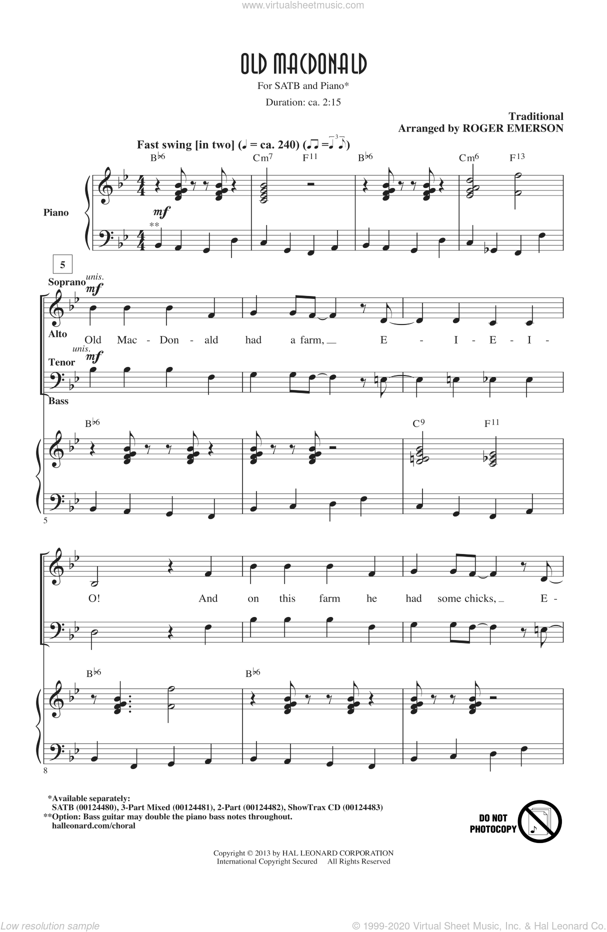 Old MacDonald sheet music for choir (SATB) by Roger Emerson. Score Image Preview.
