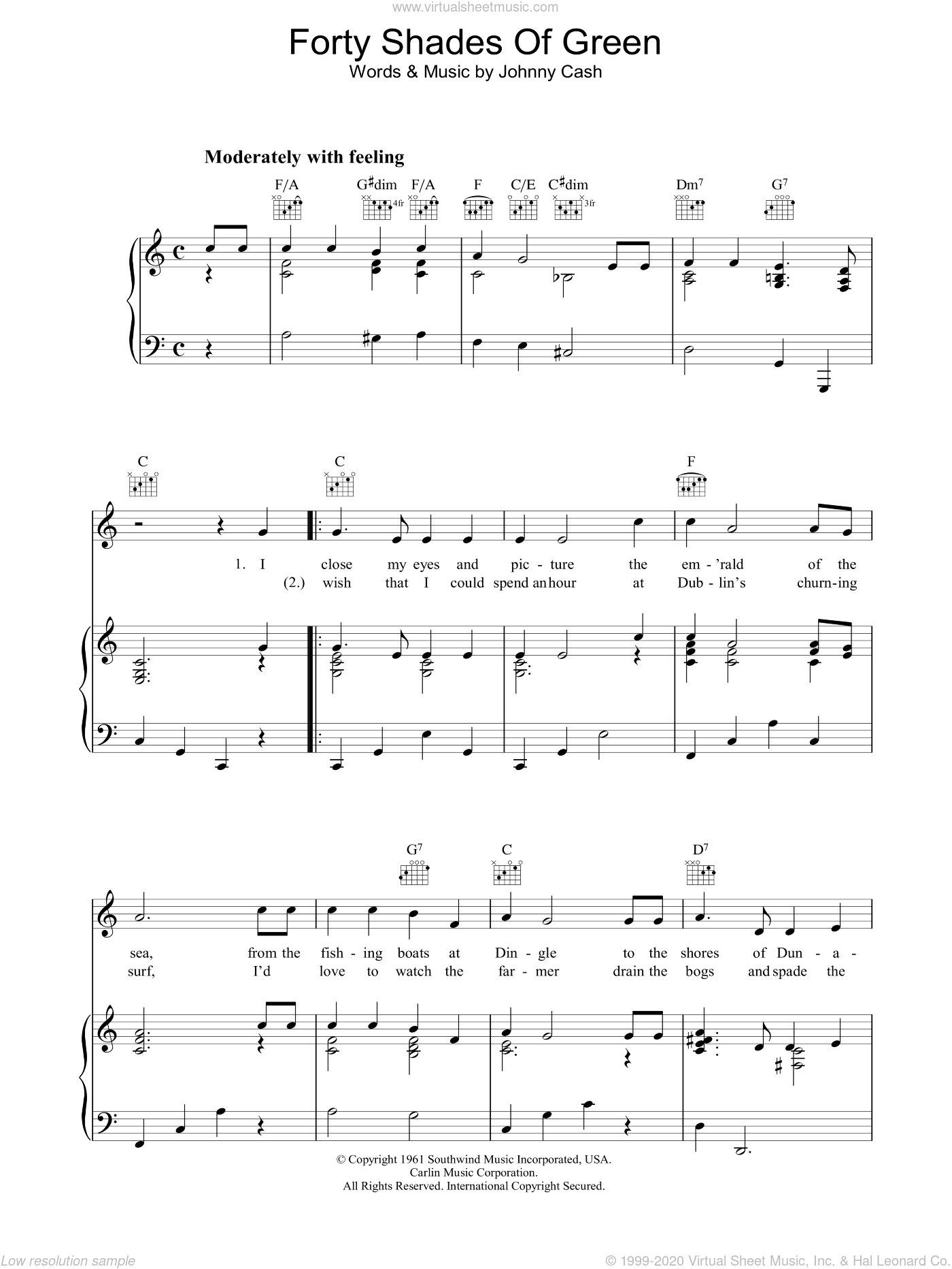 Forty Shades Of Green sheet music for voice, piano or guitar by Johnny Cash, intermediate voice, piano or guitar. Score Image Preview.