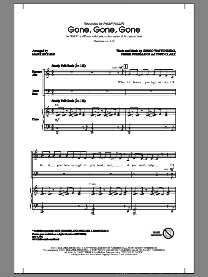 Gone, Gone, Gone sheet music for choir (SATB: soprano, alto, tenor, bass) by Phillip Phillips and Mark Brymer, intermediate. Score Image Preview.