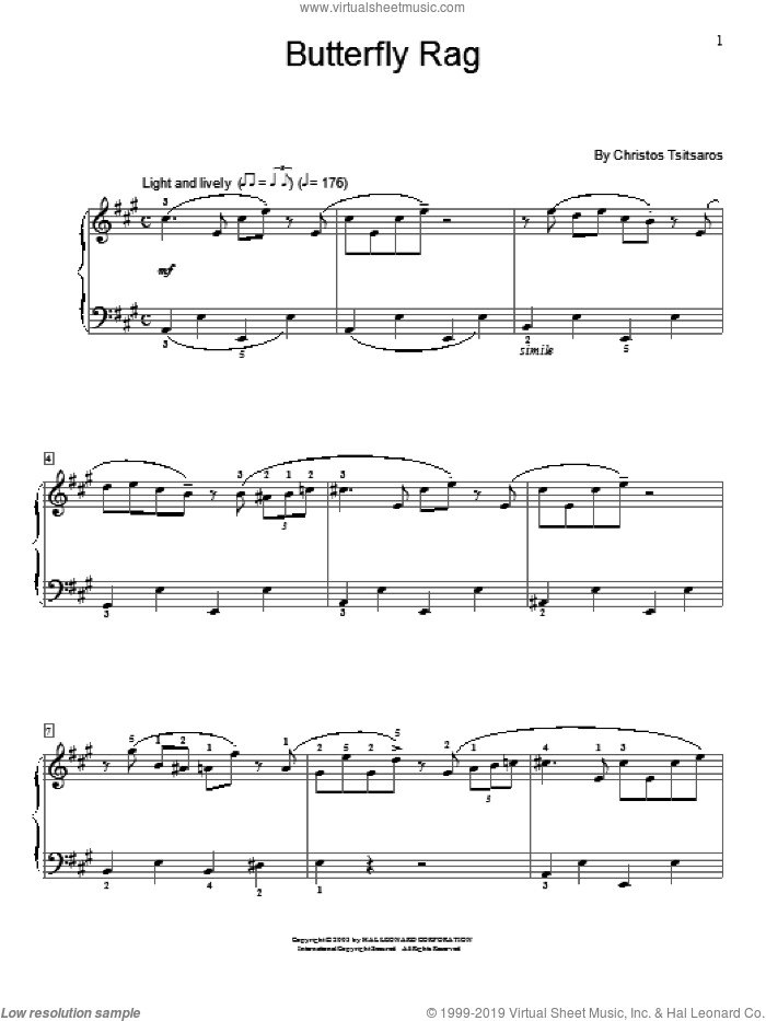 Butterfly Rag sheet music for piano solo (elementary) by Christos Tsitsaros. Score Image Preview.