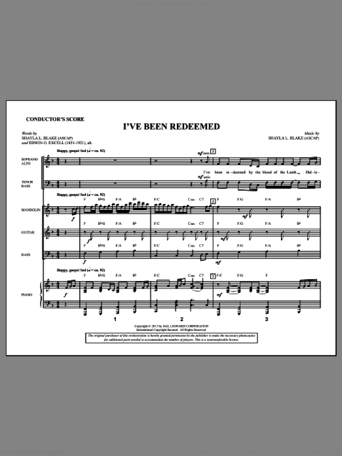 I've Been Redeemed (COMPLETE) sheet music for orchestra/band by Shayla Blake, intermediate orchestra/band. Score Image Preview.