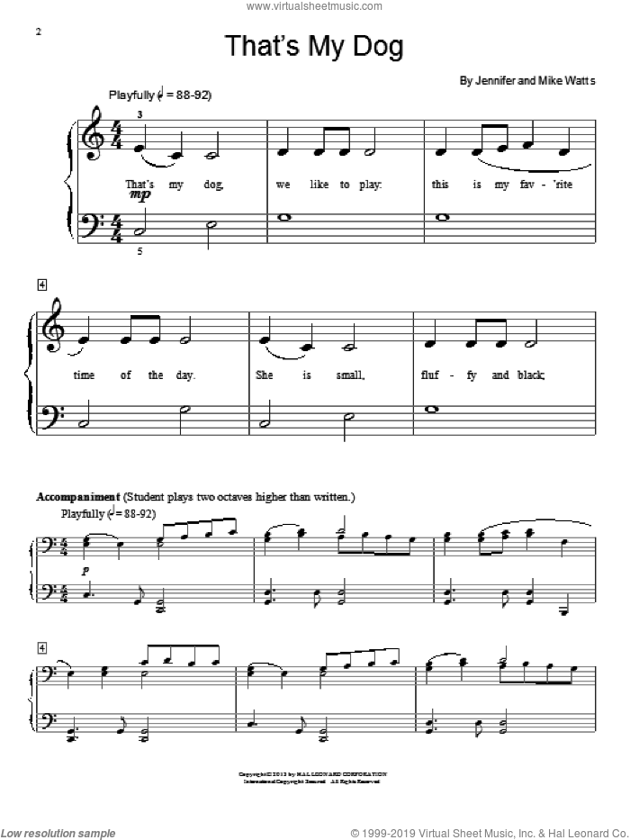 That's My Dog sheet music for piano solo (elementary) by Jennifer Watts and Mike Watts. Score Image Preview.