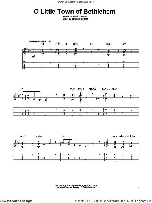 O Little Town Of Bethlehem sheet music for guitar solo by Jake Reichbart, Lewis Redner and Phillips Brooks. Score Image Preview.