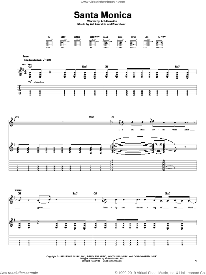 Santa Monica sheet music for guitar (tablature) by Everclear. Score Image Preview.
