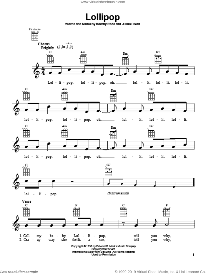 Lollipop sheet music for ukulele by The Chordettes, intermediate skill level