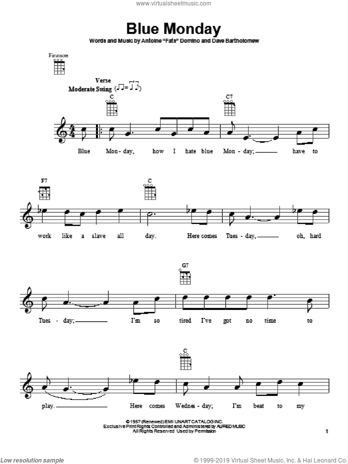 Blue Monday sheet music for ukulele by Dave Bartholomew, intermediate skill level