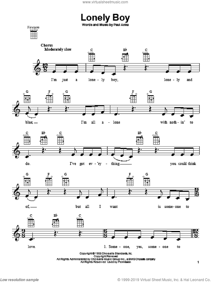 Lonely Boy sheet music for ukulele by Paul Anka, intermediate. Score Image Preview.