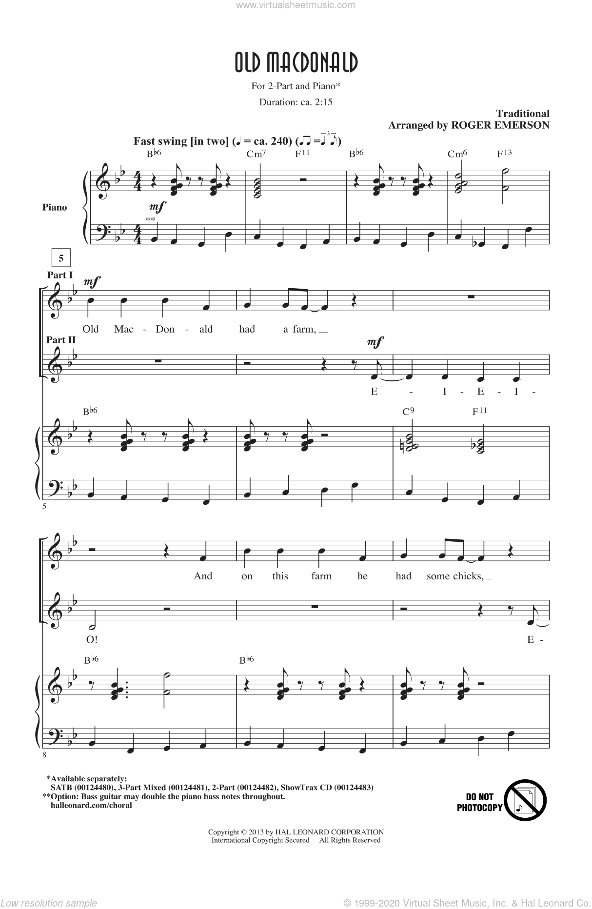 Old MacDonald sheet music for choir (duets) by Roger Emerson. Score Image Preview.