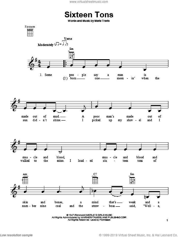 Sixteen Tons sheet music for ukulele by Tennessee Ernie Ford and Merle Travis, intermediate skill level