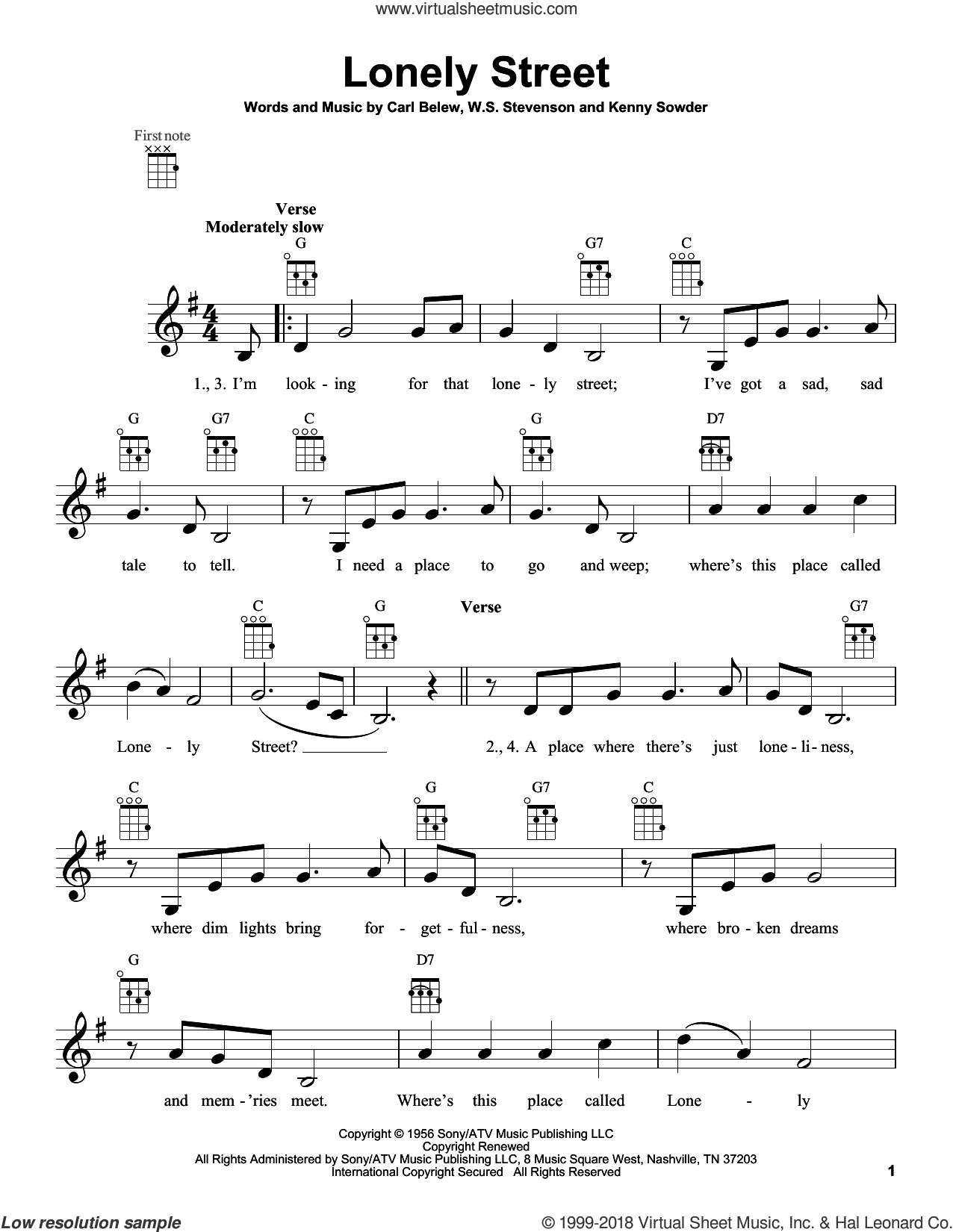 Lonely Street sheet music for ukulele by Andy Williams, intermediate. Score Image Preview.