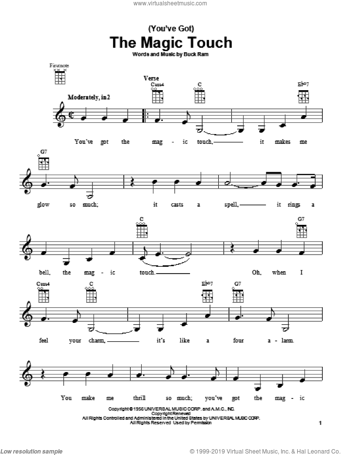 (You've Got) The Magic Touch sheet music for ukulele by The Platters and Buck Ram. Score Image Preview.