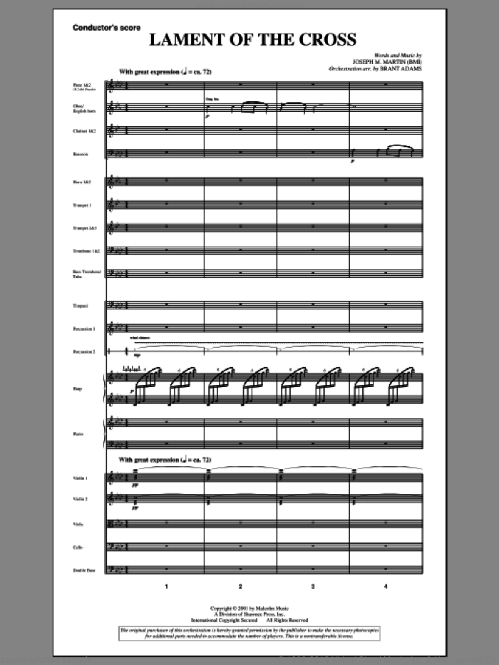 Lament Of The Cross (from 'A Time For Alleluia') (COMPLETE) sheet music for orchestra/band by Joseph Martin and Joseph M. Martin, intermediate skill level