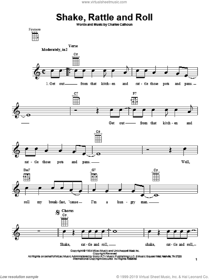 Shake, Rattle And Roll sheet music for ukulele by Bill Haley & His Comets, Arthur Conley and Charles Calhoun. Score Image Preview.