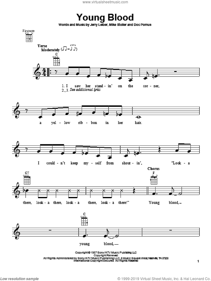Young Blood sheet music for ukulele by The Coasters, intermediate ukulele. Score Image Preview.