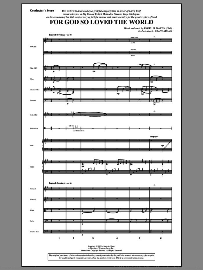 For God So Loved the World (COMPLETE) sheet music for orchestra/band by Joseph M. Martin, intermediate skill level