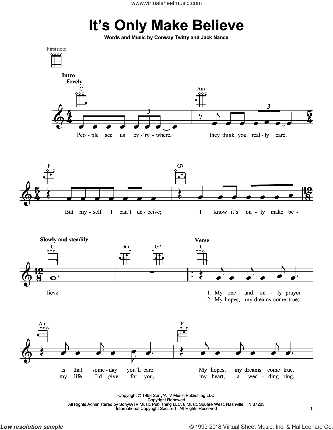 It's Only Make Believe sheet music for ukulele by Conway Twitty, Glen Campbell and Jack Nance, intermediate skill level
