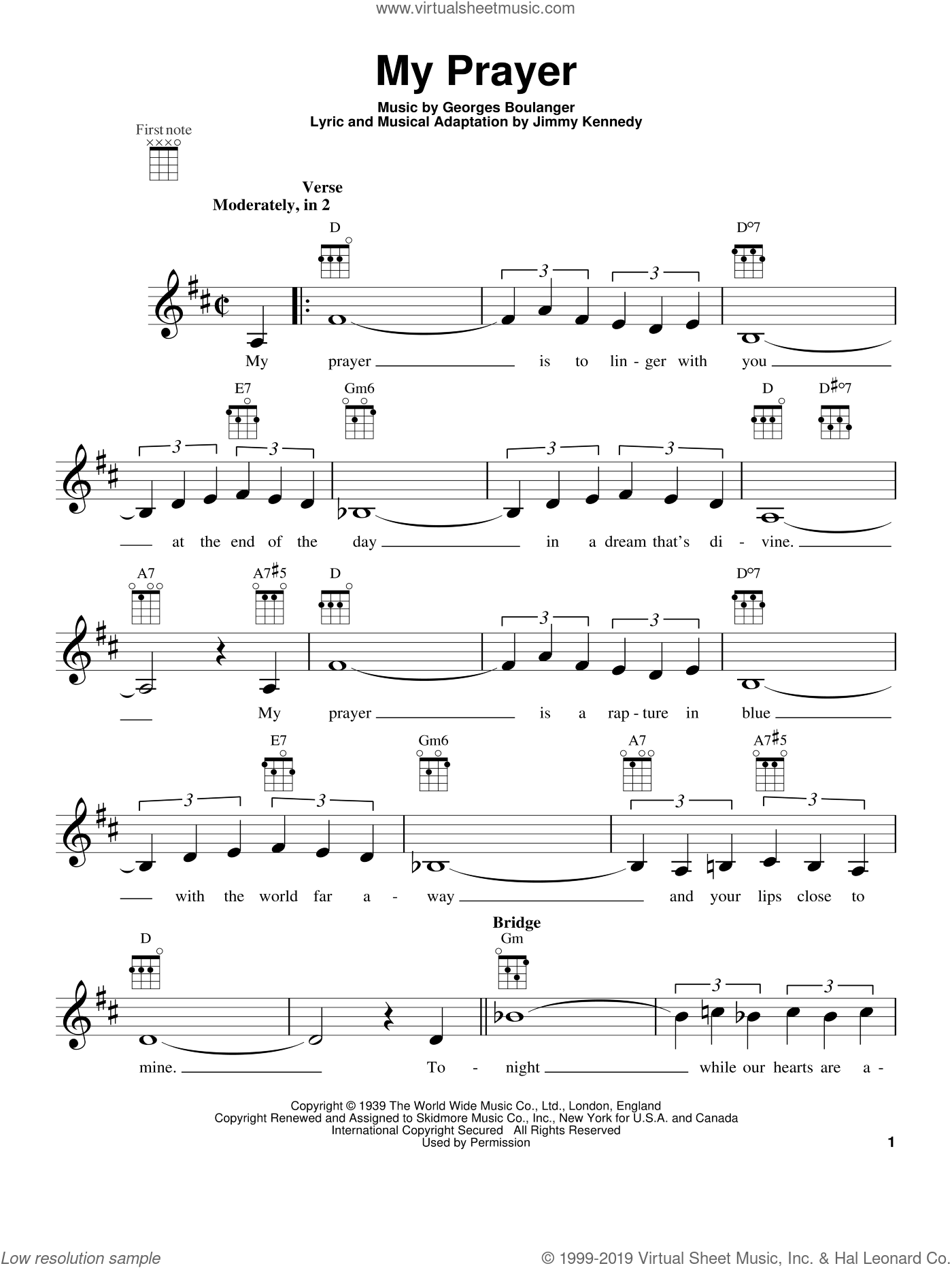 My Prayer sheet music for ukulele by The Platters. Score Image Preview.