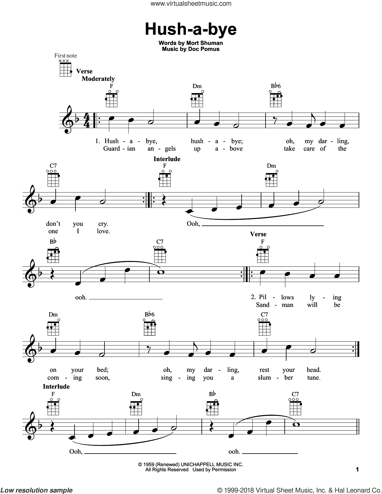 Hush-a-bye sheet music for ukulele by Mystics, intermediate skill level