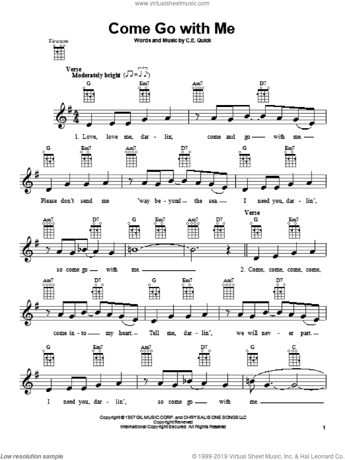 Come Go With Me sheet music for ukulele by The Beach Boys, Dell-Vikings and Dion, intermediate skill level
