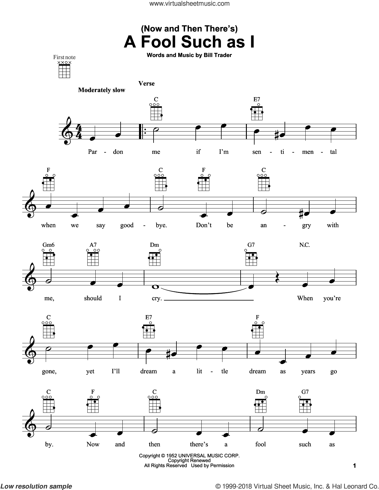 (Now And Then There's) A Fool Such As I sheet music for ukulele by Bob Dylan, Elvis Presley and Hank Snow, intermediate skill level
