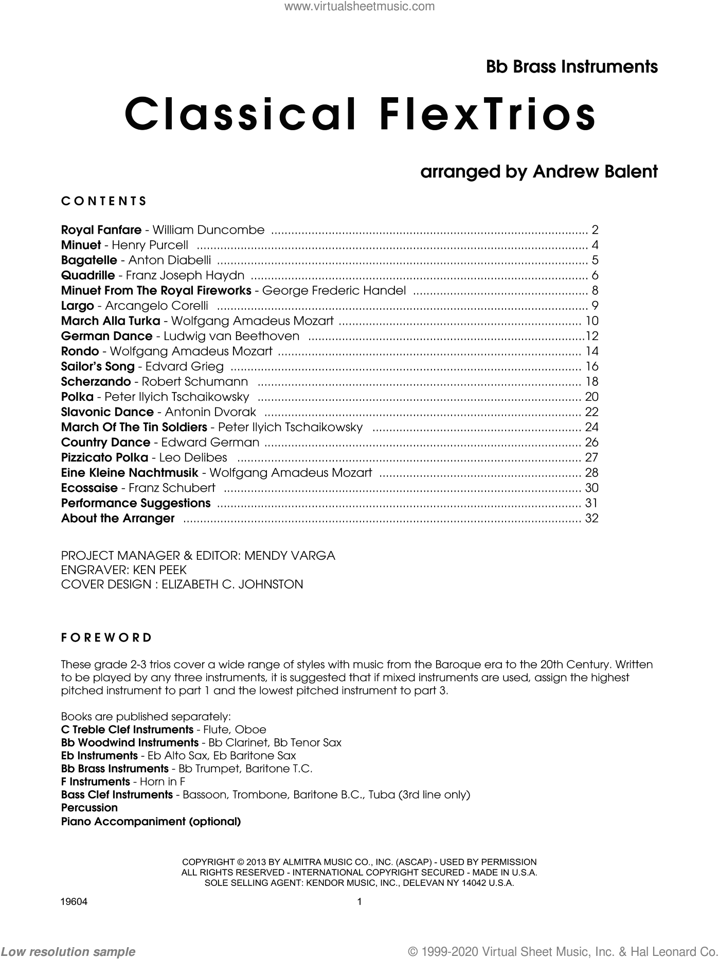Classical FlexTrios, Bb brass instruments sheet music for trio (Bb instruments) by Balent