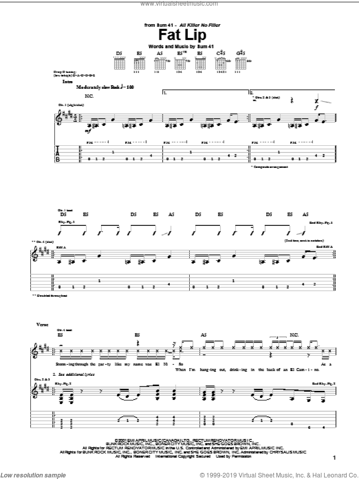 Fat Lip sheet music for guitar (tablature) by Sum 41