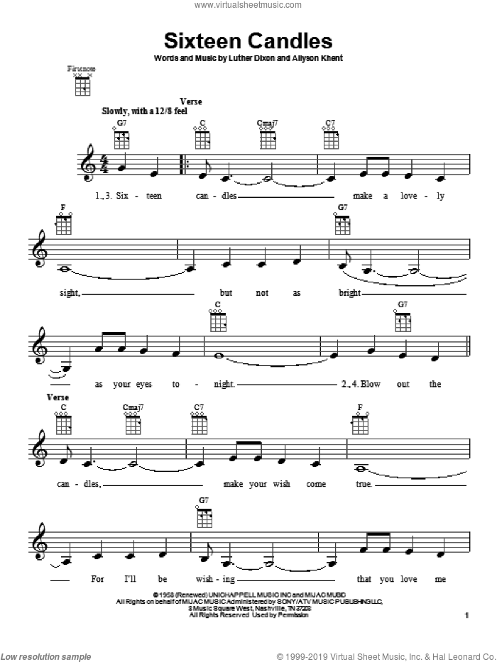 Sixteen Candles sheet music for ukulele by The Crests, intermediate skill level