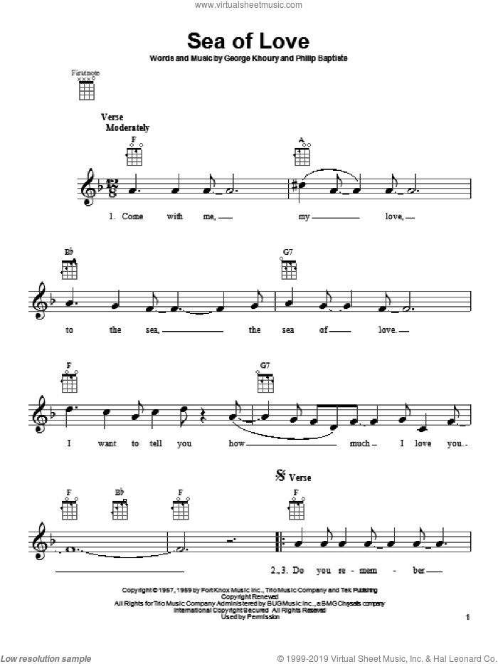 Sea Of Love sheet music for ukulele by Honeydrippers and Phil Phillips with The Twilights, intermediate skill level