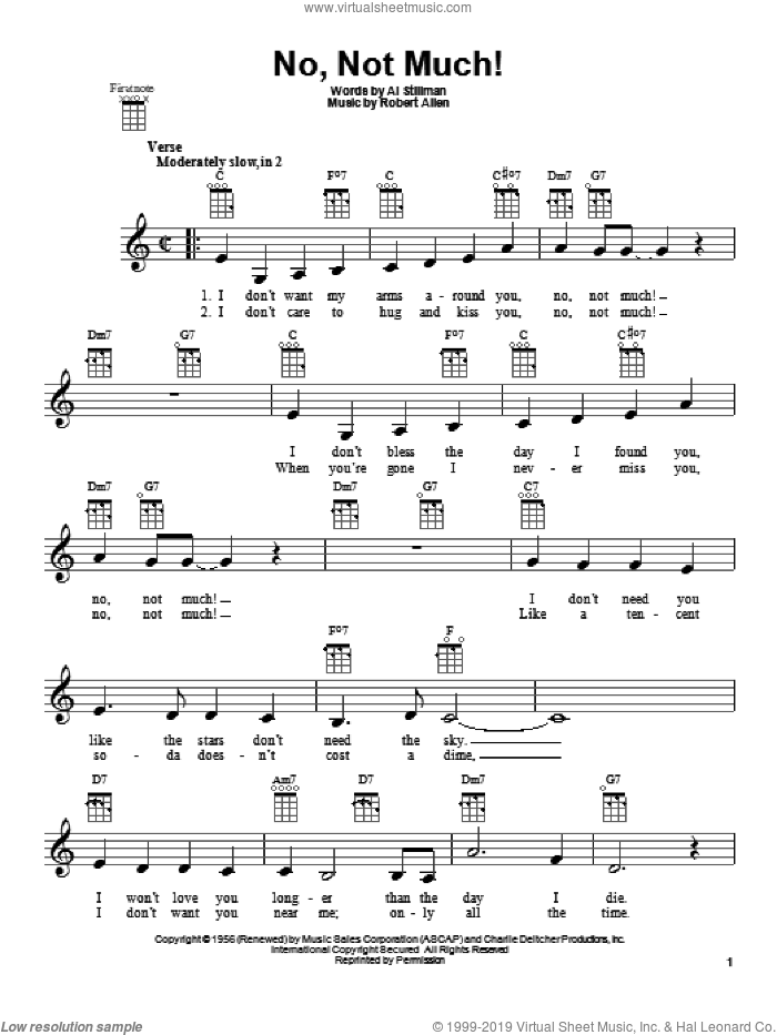 No, Not Much! sheet music for ukulele by The Four Lads. Score Image Preview.