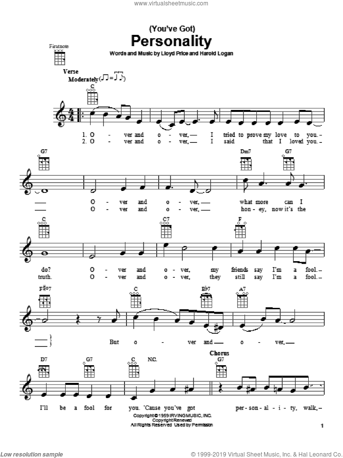 (You've Got) Personality sheet music for ukulele by Lloyd Price, intermediate ukulele. Score Image Preview.
