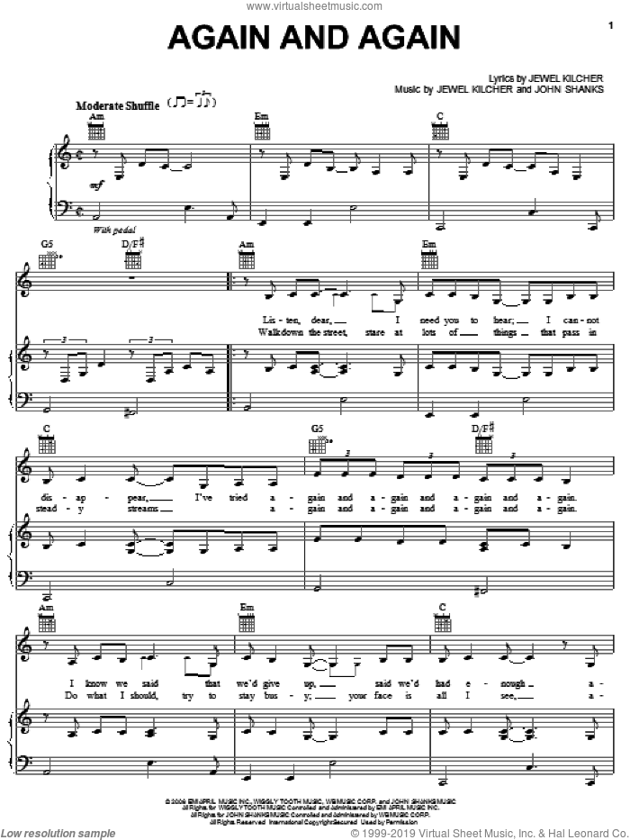 Again And Again sheet music for voice, piano or guitar by Jewel, Jewel Kilcher and John Shanks, intermediate skill level