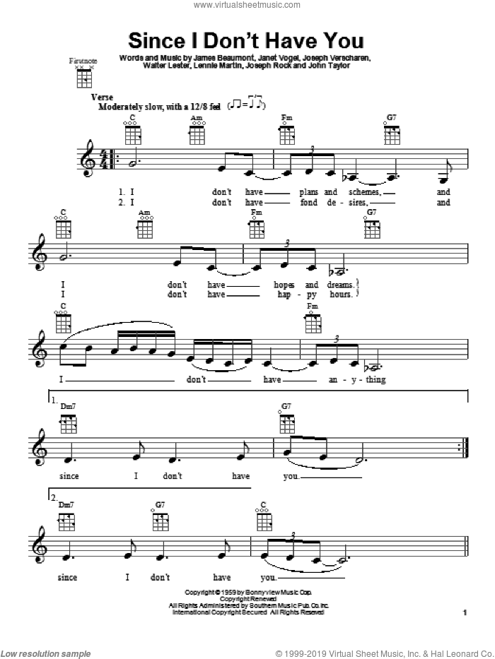 Since I Don't Have You sheet music for ukulele by The Skyliners. Score Image Preview.