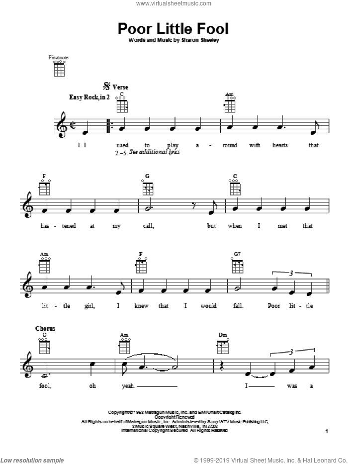 Poor Little Fool sheet music for ukulele by Ricky Nelson and Sharon Sheeley, intermediate. Score Image Preview.