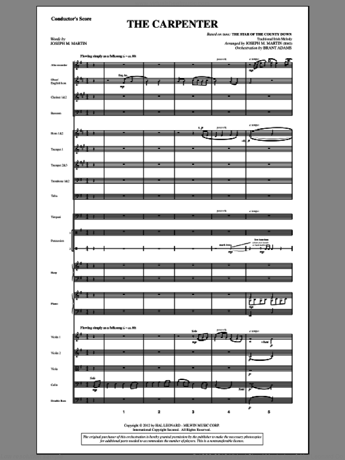 The Carpenter (from Canticle Of The Cross) (COMPLETE) sheet music for orchestra/band by Joseph M. Martin, intermediate orchestra/band. Score Image Preview.