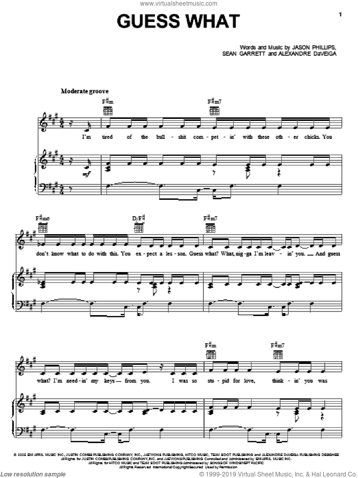 Guess What sheet music for voice, piano or guitar by Sean Garrett
