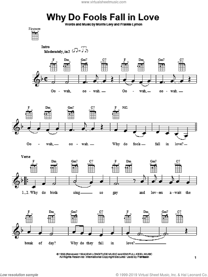 Why Do Fools Fall In Love sheet music for ukulele by Frankie Lymon & The Teenagers. Score Image Preview.