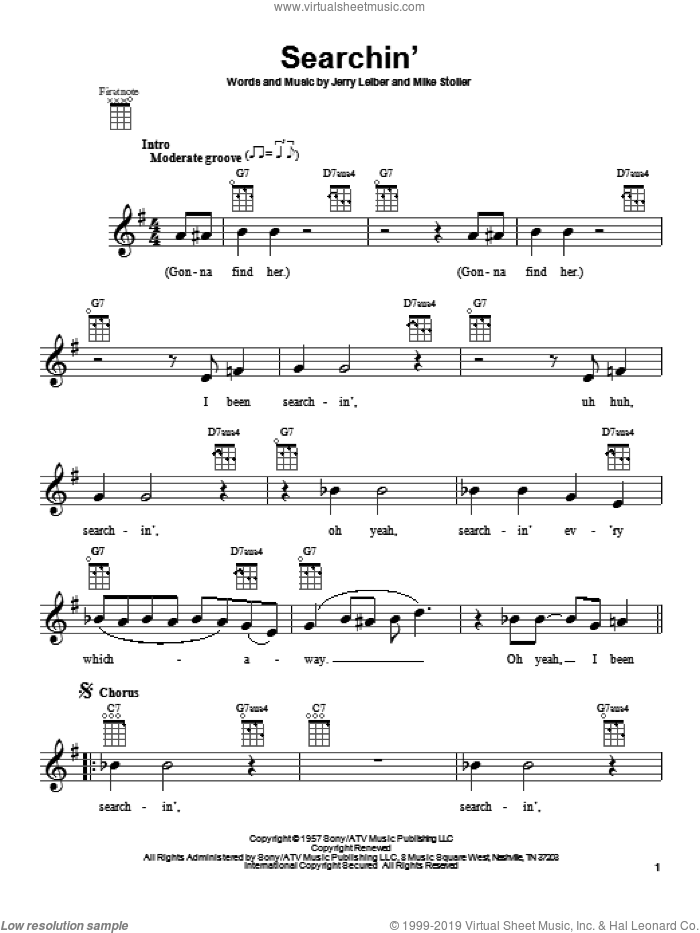 Searchin' sheet music for ukulele by The Coasters and The Beatles. Score Image Preview.