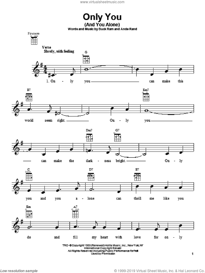 Only You (And You Alone) sheet music for ukulele by The Platters, intermediate skill level