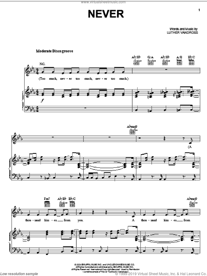Never sheet music for voice, piano or guitar by Luther Vandross and Keyshia Cole. Score Image Preview.