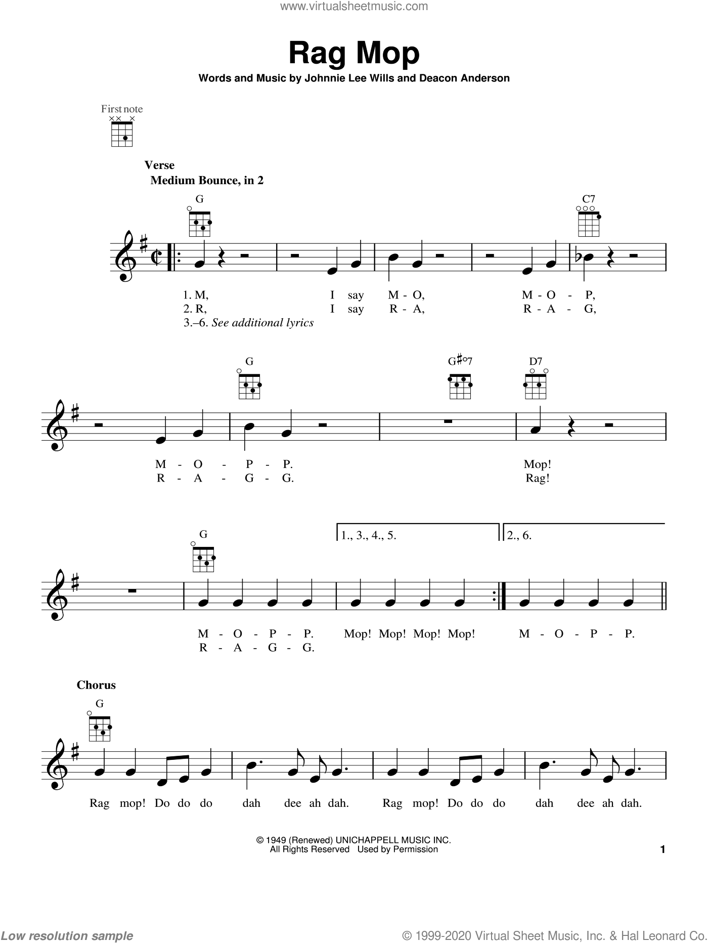 Rag Mop sheet music for ukulele by Deacon Anderson