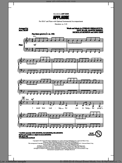 Applause sheet music for choir (soprano voice, alto voice, choir) by Mac Huff and Lady Gaga. Score Image Preview.