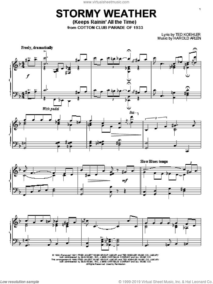 Stormy Weather (Keeps Rainin' All The Time) sheet music for piano solo by Harold Arlen and Ted Koehler, intermediate skill level