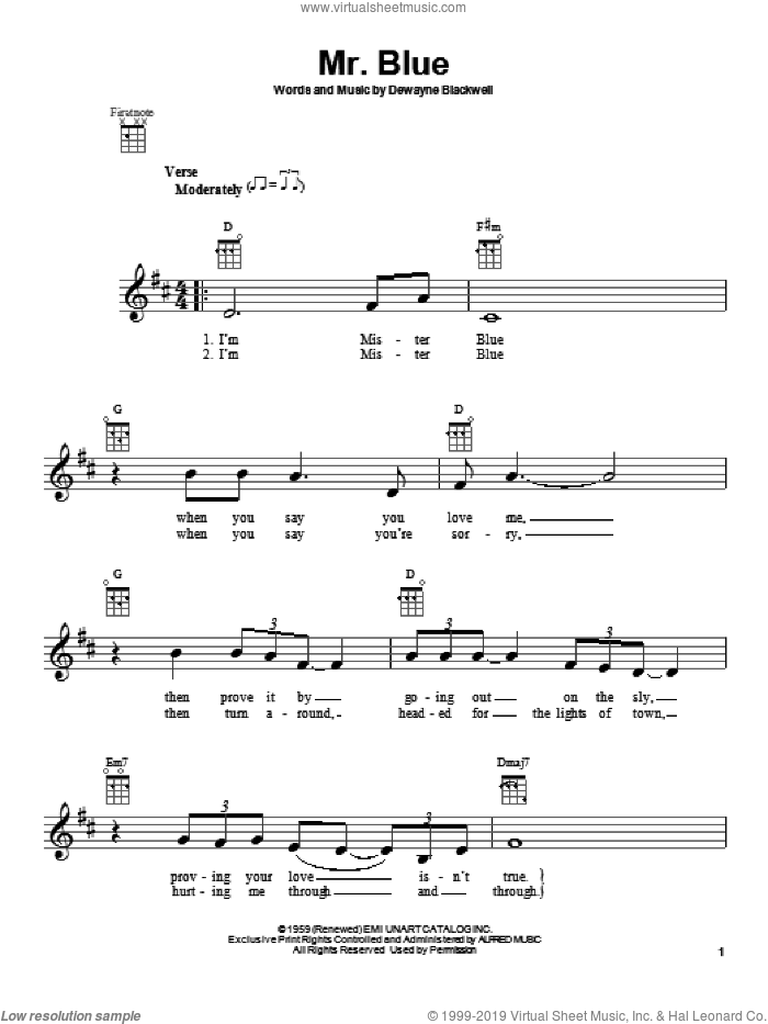 Mr. Blue sheet music for ukulele by DeWayne Blackwell and Garth Brooks. Score Image Preview.