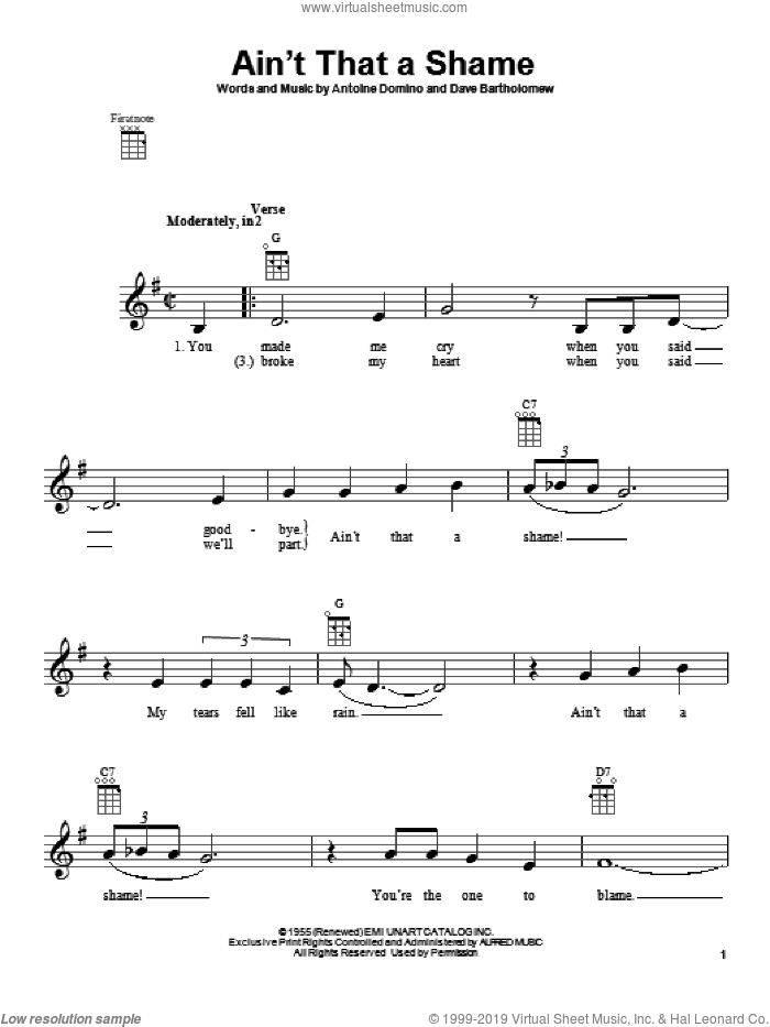 Ain't That A Shame sheet music for ukulele by Fats Domino, intermediate ukulele. Score Image Preview.