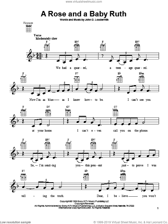 A Rose And A Baby Ruth sheet music for ukulele by George Hamilton IV