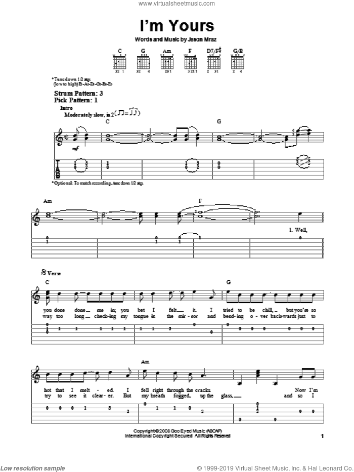 I'm Yours sheet music for guitar solo (easy tablature) by Jason Mraz, easy guitar (easy tablature)