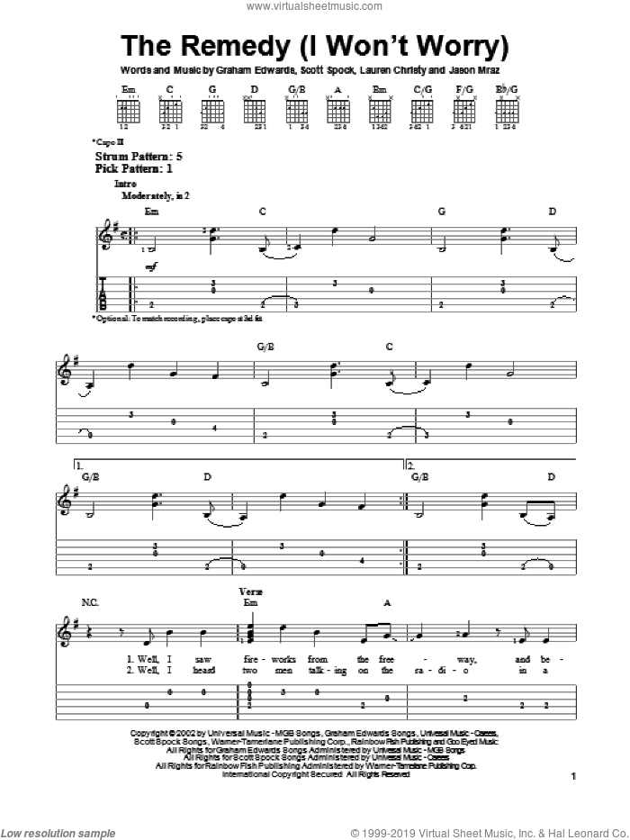 The Remedy (I Won't Worry) sheet music for guitar solo (easy tablature) by Jason Mraz. Score Image Preview.