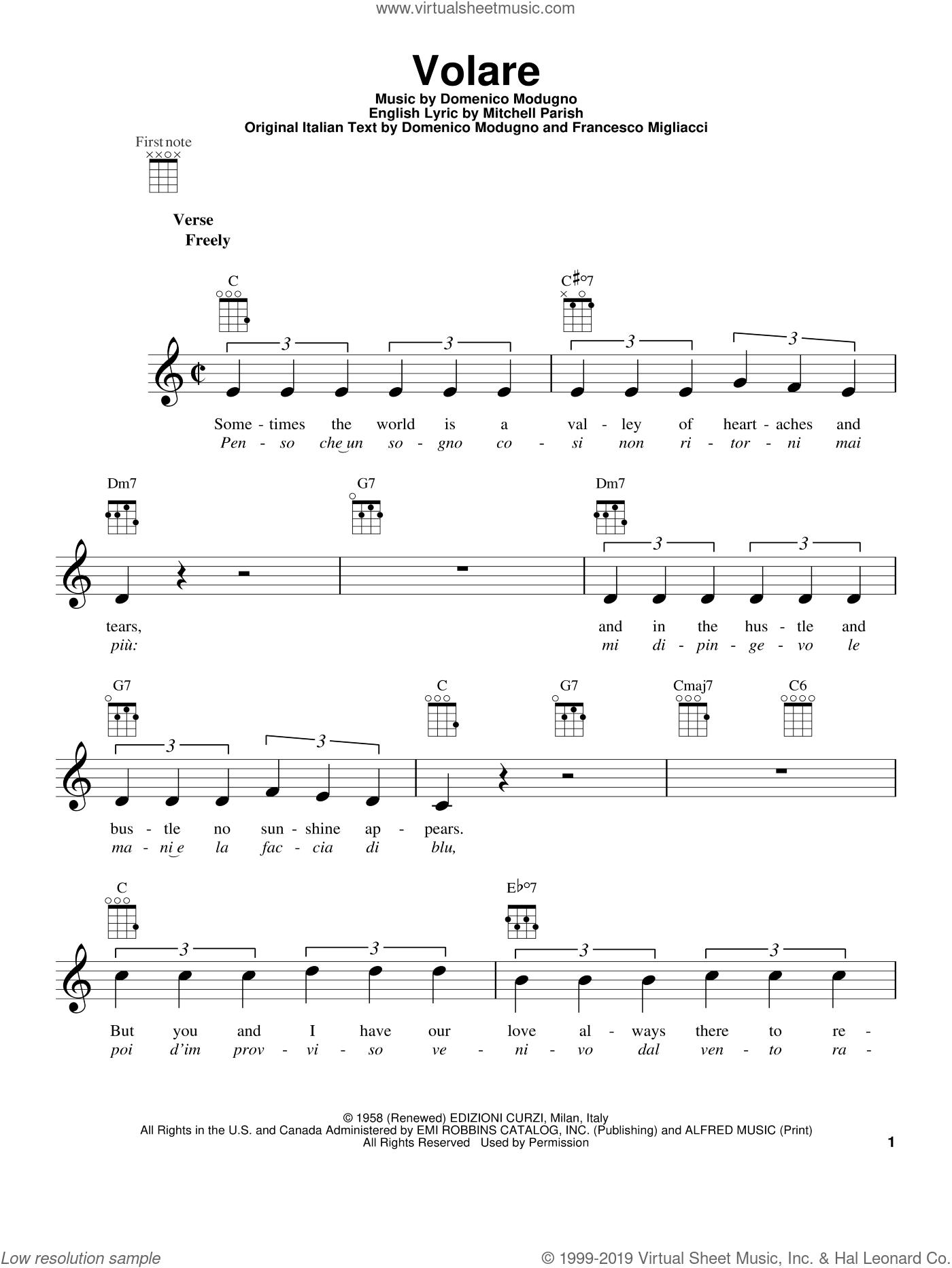 Volare sheet music for ukulele by Dean Martin, Bobby Rydell and Domenico Modugno, intermediate skill level